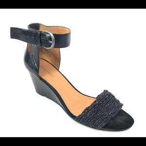 Nine West Black Wedge Strapy Sandals